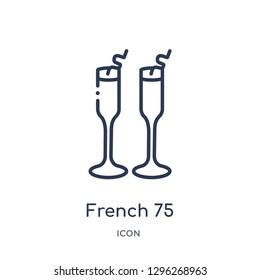 Linear french 75 icon from Drinks outline collection. Thin line french 75 icon vector isolated on white background. french 75 trendy illustration