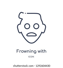 Linear frowning with open mouth emoji icon from Emoji outline collection. Thin line frowning with open mouth emoji icon vector