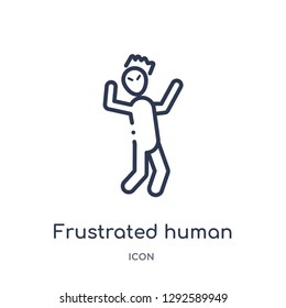 Linear frustrated human icon from Feelings outline collection. Thin line frustrated human icon vector isolated on white background. frustrated human trendy illustration