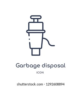 Linear garbage disposal icon from Electronic devices outline collection. Thin line garbage disposal icon vector isolated on white background. garbage disposal trendy illustration