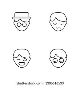 Linear Gentleman, Tough, Sad, Shocked Vector Illustration Of 4 outline Icons. Editable Pack Of Gentleman, Tough, Sad, Shocked