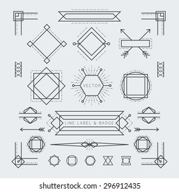 Linear Geometric Labels and Badges Monochrome, Graphic Elements
