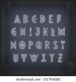 Linear geometric uppercase font. Neon blue letters on a dark background.