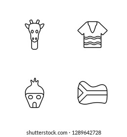 6a1803c32628e Linear Giraffe, Hut, Shirt, South africa Vector Illustration Of 4 outline  Icons.