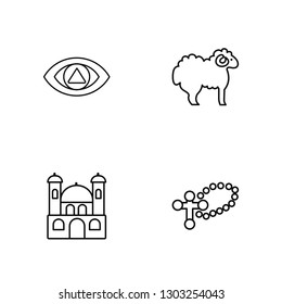 Linear God, Monastery, Lamb, Cross Vector Illustration Of 4 outline Icons. Editable Pack Of God, Monastery, Lamb, Cross