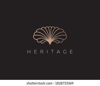 Linear gold gradient flower shell logo design. Premium seafood spa beach hotel vector logotype sign minimal style illustration.