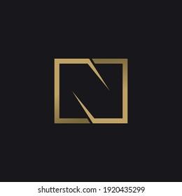 Linear, gold letter N on black background. Vector logo