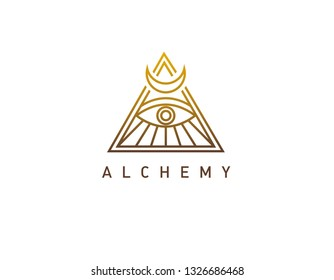 Linear gold logo pyramid with an isothermal eye alchemy