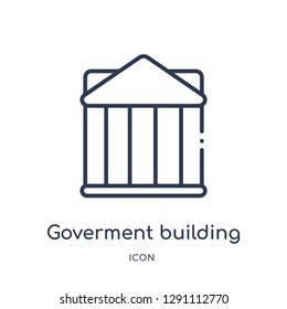 Linear goverment building icon from Buildings outline collection. Thin line goverment building vector isolated on white background. goverment building trendy illustration