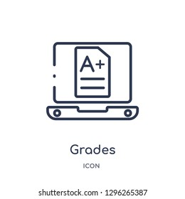 Linear grades icon from Elearning and education outline collection. Thin line grades icon vector isolated on white background. grades trendy illustration