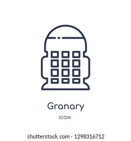 Linear granary icon from Miscellaneous outline collection. Thin line granary icon isolated on white background. granary trendy illustration