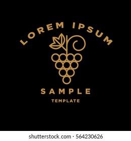 Linear Grape Sign Vector Design