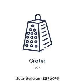Linear grater icon from Kitchen outline collection. Thin line grater icon isolated on white background. grater trendy illustration