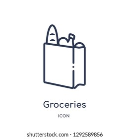 Linear groceries icon from Fastfood outline collection. Thin line groceries icon vector isolated on white background. groceries trendy illustration