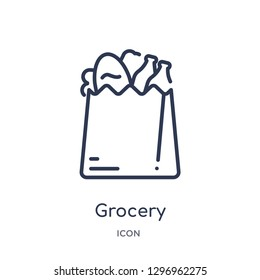 Linear grocery icon from Commerce outline collection. Thin line grocery icon isolated on white background. grocery trendy illustration