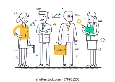 Linear group of office workers standing smiling. Flat line vector concept design on business people line-up, teamwork, human resources, career opportunities, team skills, management.