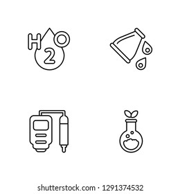 Linear H2o, Ph meter, Beaker, Flask Vector Illustration Of 4 outline Icons. Editable Pack Of H2o, Ph meter, Beaker, Flask