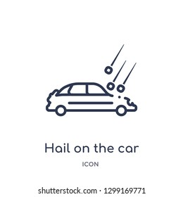 Linear hail on the car icon from Insurance outline collection. Thin line hail on the car icon isolated on white background. hail on the car trendy illustration