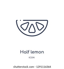 Linear half lemon icon from Bistro and restaurant outline collection. Thin line half lemon vector isolated on white background. half lemon trendy illustration