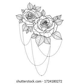 Linear hand drawing roses flowers for greeting card, invitation, Henna drawing and tattoo template. Roses tattoo. Vector illustration