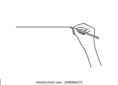 linear hand drawing a straight line. concept of handwritten art by woman arm, writing ink paperwork and deal, planning study student. black contour logo graphic thin line design on white background