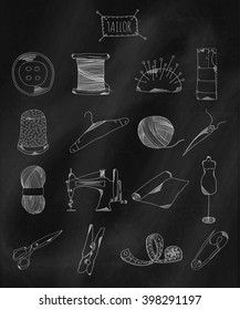 Linear hand drawn icons on chalk Board. Accessories belonging to a seamstress, tailor, fashion designer. Vector