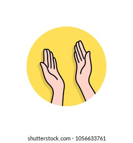 linear hands like highfive logo. cartoon flat style trend modern high 5 fist or palm logotype element graphic art design isolated on white background. concept of great ovation or clapping arms