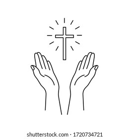 linear hands raised up and cross icon. concept of trust and love to christianity, spiritual peace, believe in bible, appeal to heaven, request for donated. black simple linear sign on white background