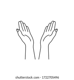 linear hands raised up icon. prayer sign in religions such as Islam, Christianity, Buddhism. concept of trust, peace and love, appeal to heaven, request for donated. black simple linear sign on white