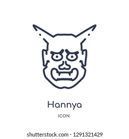 Linear hannya icon from Asian outline collection. Thin line hannya vector isolated on white background.