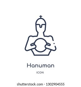 Linear hanuman icon from India outline collection. Thin line hanuman icon isolated on white background. hanuman trendy illustration
