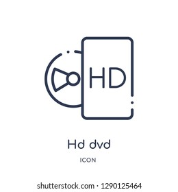 Linear hd dvd icon from Cinema outline collection. Thin line hd dvd vector isolated on white background. hd dvd trendy illustration