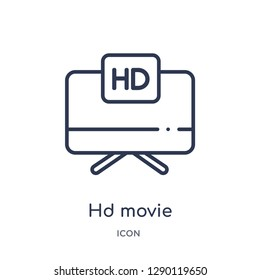 Linear hd movie icon from Cinema outline collection. Thin line hd movie vector isolated on white background. hd movie trendy illustration