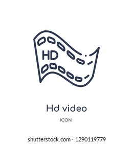 Linear hd video icon from Cinema outline collection. Thin line hd video vector isolated on white background. hd video trendy illustration