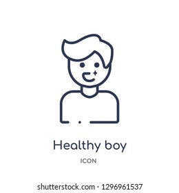 Linear healthy boy icon from Dentist outline collection. Thin line healthy boy icon isolated on white background. healthy boy trendy illustration