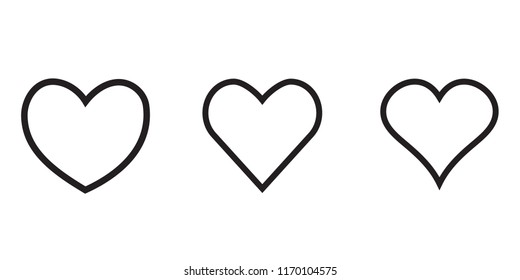 linear heart icon, outline love icon