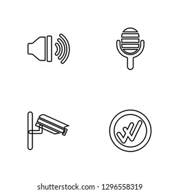 Linear High Volume, Vigilance, Microphone, Double Checking Vector Illustration Of 4 outline Icons. Editable Pack Of High Volume, Vigilance, Microphone, Double Checking