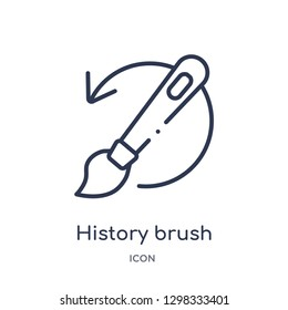 Linear history brush icon from General outline collection. Thin line history brush icon isolated on white background. history brush trendy illustration