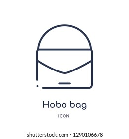 Linear hobo bag icon from Clothes outline collection. Thin line hobo bag vector isolated on white background. hobo bag trendy illustration