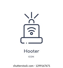 Linear hooter icon from Internet security outline collection. Thin line hooter icon isolated on white background. hooter trendy illustration