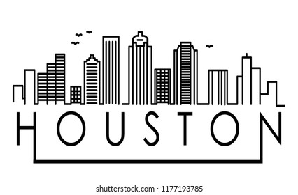 Linear Houston City Silhouette with Typographic Design