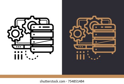 Linear icon data processing. Data science technology and machine learning process. Suitable for print, website and presentation