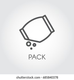 Linear icon of grocery bag with abstract bulk ingredient. Culinary concept. Vector outline logo on a gray background