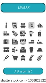 linear icon set. 25 filled linear icons.  Simple modern icons about  - Electric toothbrush, Tequila, Artboard, Parking, Tent, Measuring tape, Pineapple, Safebox, Doctor, Water bottle