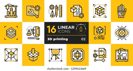 Linear icon set of 3D printing and 3D modeling. Suitable for presentation, mobile apps, website, interfaces and print