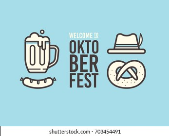 Linear of icons on theme of beer festival: beer mug, sausage, pretzel, bavarian hat. Oktoberfest beer festival.
