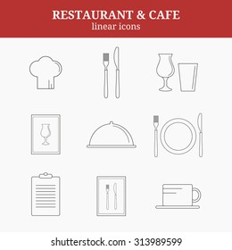 Linear icons for restaurant. Chef hat, cup, plate, fork and knife, menu list, wine glass, tray with lid.