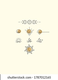 Linear icons with sun and moon, sea and stars. Small logos and icons for womens business. Logo for a beauty salon or cosmetics store.