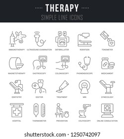 Linear icons of therapy with names.