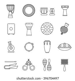 Linear icons of traditional percussion instruments. Collection of African, Indian, Brazilian, Oriental ethnic drums.